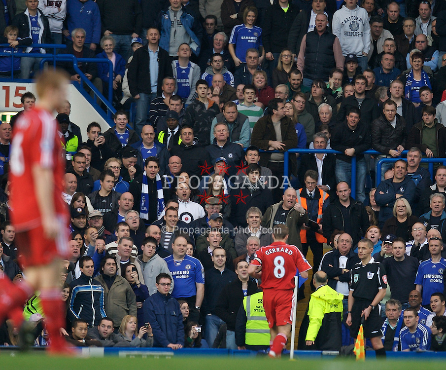 LONDON, ENGLAND - Sunday, February 10, 2008: Liverpool's captain Steven Gerrard MBE is chastised by Chelsea supporters during the Premiership match at Stamford Bridge. (Photo by David Rawcliffe/Propaganda)