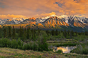 St. Elias Mountains, a subgroup of the Pacific Coast Ranges at sunrise<br /> Haines Junction<br /> Yukon<br /> Canada
