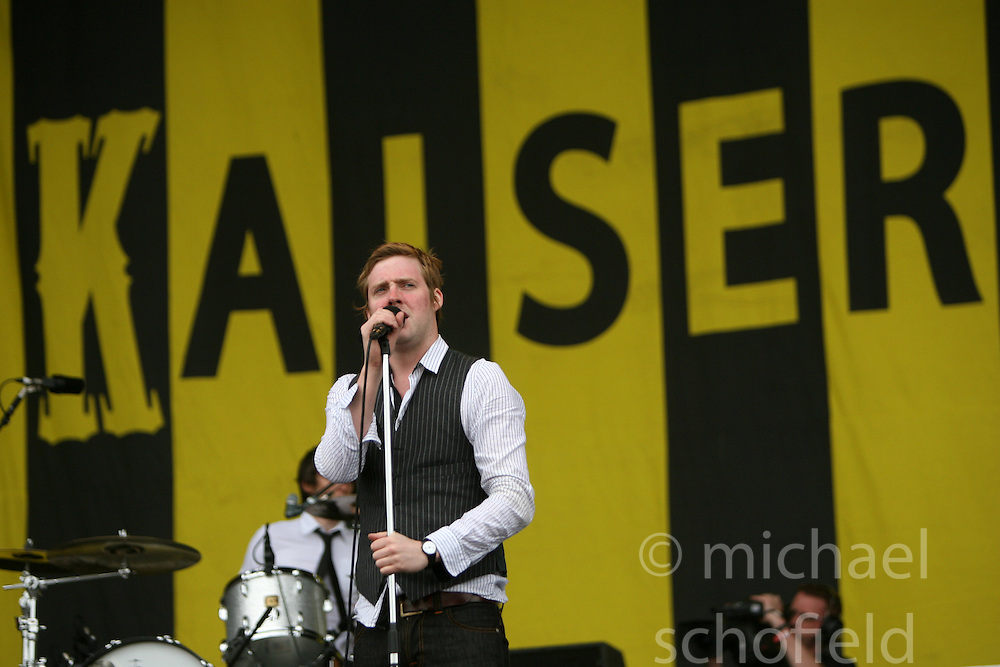 Ricky Wilson of the Kaiser Chiefs on the main stage..T in the Park, Saturday 2006..©Michael Schofield..