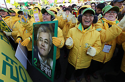 Moon Jae-in (L), presidential candidate of South Korea's Supporters of Moon Jae-in, presidential candidate of South Korea's Democratic United Party, cheer during the election campaign in Incheon, South Korea, December 17, 2012, Photo by Imago / i-Images...UK ONLY