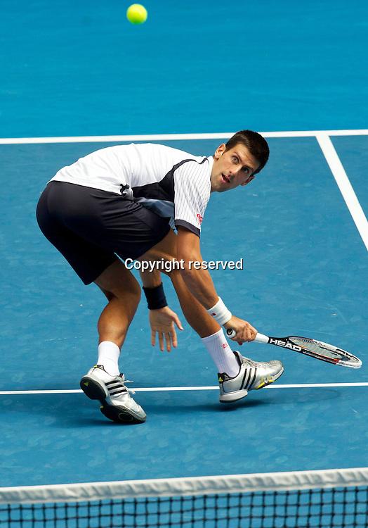 18.01.2013 Melbourne, Australia. Novak Djokovic (SRB) in action during his third round win over Radek Stepanek.