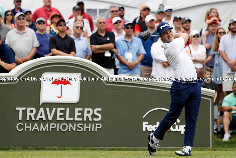 CROMWELL, CT - JUNE 24: David Lingmerth of Sweden during the third round of the Travelers Championship on June 24, 2017, at TPC River Highlands in Cromwell, Connecticut. (Photo by Fred Kfoury III/Icon Sportswire)