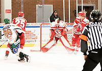 2018-12-30 | Ljungby, Sweden: Troja-Ljungby (28) Anton Svensson with a save during the game between Troja Ljungby and Kristianstad IK at Ljungby Arena ( Photo by: Fredrik Sten | Swe Press Photo )<br /> <br /> Keywords: Icehockey, Ljungby, HockeyEttan, Troja Ljungby, Kristianstad IK, Ljungby Arena, AllEttan Södra