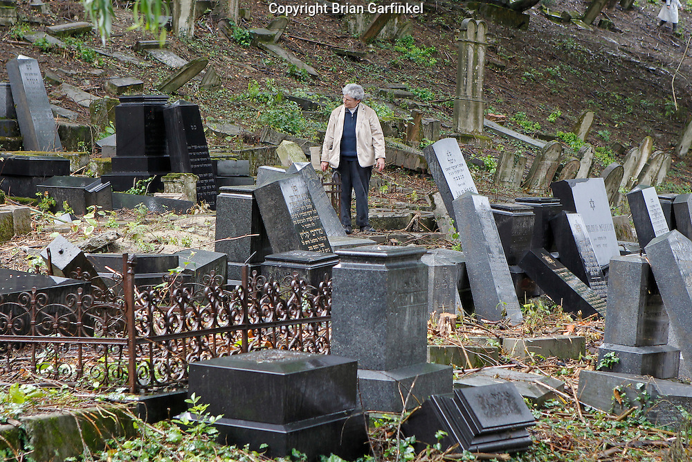 Mom walks through the Jewish Cemetery in Povazka Bystrica, Slovakia on Sunday July 3rd 2011. (Photo by Brian Garfinkel)