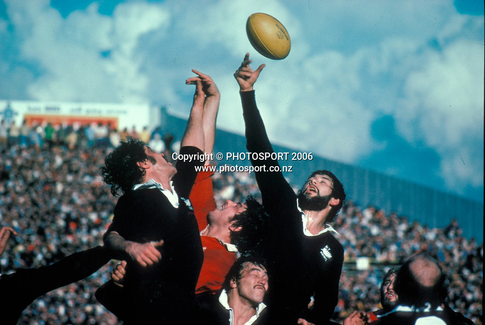 NZ Maori Alan Martin wins the lineout ball during the International Rugby Union match between the British and Irish Lions and New Zealand Maori, on July 13, 1977. Photo: PHOTOSPORT<br /> New Zealand Maori v British &amp; Irish Lions at Wellington, 29 May 1993.