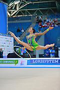 Neta Rivkin during final at hoop in Pesaro World Cup at Adriatic Arena on 12 April 2015. Neta was born on June 23, 1991 in Petah Tiqwa Israel. <br /> She is one of Israel's most successful rhythmic gymnasts.