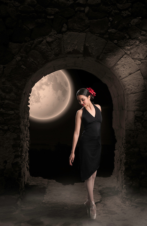 Photoshop composition, Ballerina, Mill Ruin and Moon. (2016)