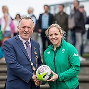 27.07.17.          <br /> Ireland Women&rsquo;s Rugby captain Niamh Briggs was mobbed by young fans in Limerick earlier today (Thursday) as she arrived in the city by boat for the Women&rsquo;s Rugby World Cup trophy tour.<br /> <br /> Ireland Women&rsquo;s Rugby captain Niamh Briggs presented a signed rugby ball to Mayor of Limerick, Cllr Stephen Keary.<br />  <br /> <br /> <br /> <br /> The Limerick based garda and Munster fullback was escorted on the River Shannon by Limerick Marine Search and Rescue along with Nevsail kayakers as she made her way to Arthur&rsquo;s Quay jetty to be officially met by Mayor of Limerick, Cllr Stephen Keary. Picture: Alan Place
