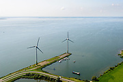 Nederland, Noord-Holland, Amsterdam, 05-08-2014; Waterland. Windmolens op de Waterlandse Zeedijk (Uitdammerdijk) en IJsselmeer richting Almere,<br /> <br /> Waterland with (former) seawalll, near Amsterdam. IJssel lake.<br /> luchtfoto (toeslag op standard tarieven);<br /> aerial photo (additional fee required);<br /> copyright foto/photo Siebe Swart