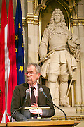 Vienna, Austria. Cocktail reception hosted by Mayor Michael Häupl at City Hall for international scientists and researchers living and working in Vienna.<br /> Alexander van der Bellen, Commissioner for Universities and Research.
