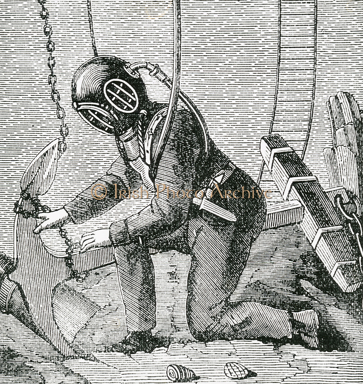 Diver at work wearing a suit of the kind designed by August Siebe (1788-1872) German-born British engineer. Engraving c1890.