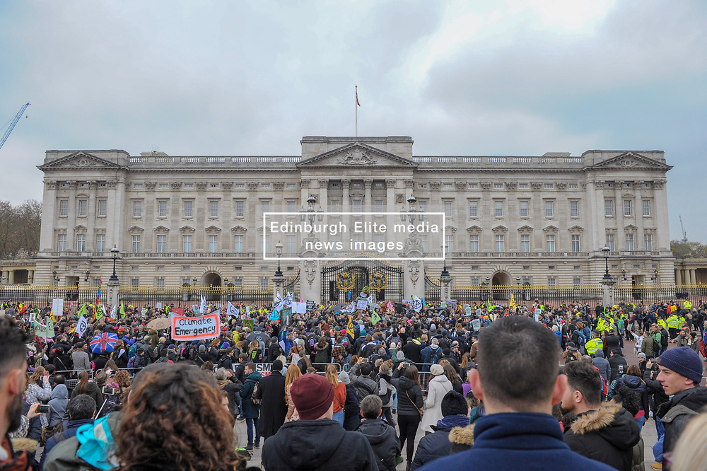 Extinction Rebellion campaigners came together in London for Rebellion Day 2. The protesters marched along Whitehall, The Mall finishing at the gates of Buckingham Palace. The pro-people and planet group are calling on the Government to reduce carbon emissions to net zero by 2025 and to reduce consumption levels. London, 24 November 2018.