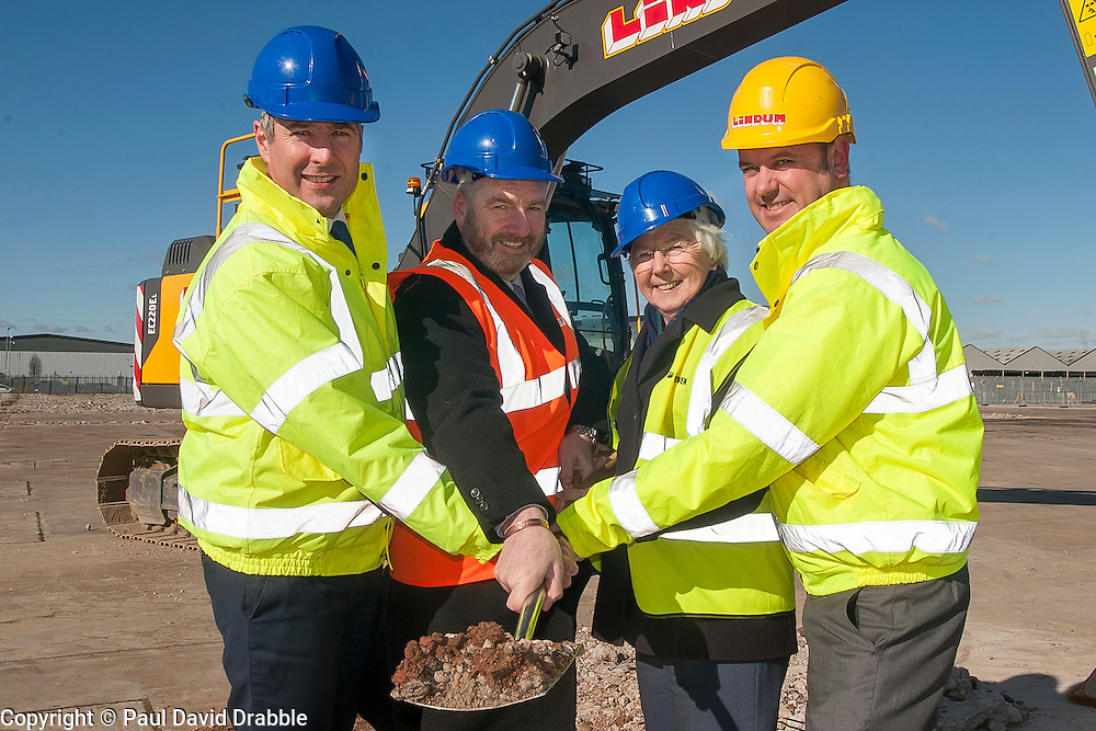 A ground-breaking ceremony to mark St. Modwen, the UK's leading regeneration specialist's first phase of a major new 250,000 sq ft commercial development at Parkside Business Park in DoncasterFrom Left to Right  Rob Richardson from St. Modwen, Councillor Bill Mordue, Portfolio Holder for Business, Skills, Tourism and Culture, Cllr Ros Jones Mayor of Doncaster and Jonathan Sizer from Lindum York<br /> <br /> 07 March 2016<br />  Copyright Paul David Drabble<br />  www.pauldaviddrabble.co.uk