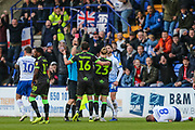 Forest Green Rovers Gavin Gunning(16) is shown a red card, sent off after a tackle on Tranmere Rovers Jay Harris(8) during the EFL Sky Bet League 2 play off first leg match between Tranmere Rovers and Forest Green Rovers at Prenton Park, Birkenhead, England on 10 May 2019.
