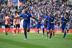Wes Morgan of Leicester City celebrates the winning goal. - Mandatory by-line: Alex James/JMP - 03/04/2016 - FOOTBALL - King Power Stadium - Leicester, England - Leicester City v Southampton - Barclays Premier League