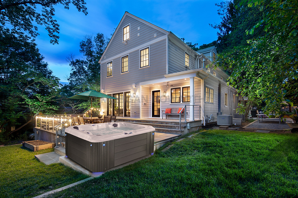 5813 Surrey Home Rear Twilight new hot tub