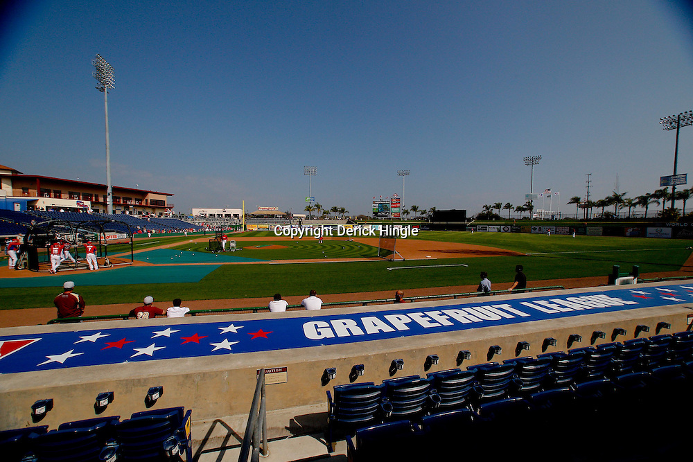 February 24, 2011; Clearwater, FL, USA; A general view from the stands prior to a spring training exhibition  game between the Philadelphia Phillies and Florida State University at Bright House Networks Field. Mandatory Credit: Derick E. Hingle