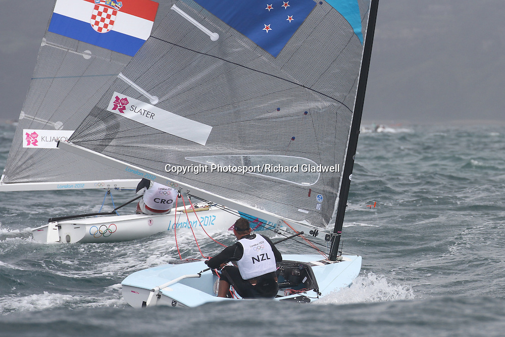 August 2, 2012 - Weymouth, England - Dan Slater in the Finn class