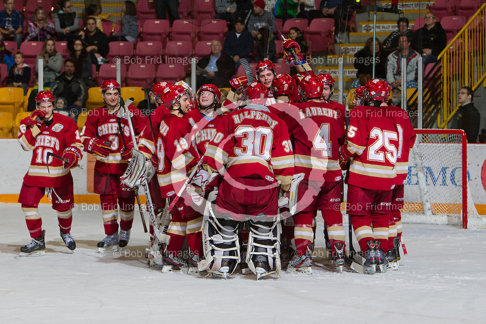 11 January 2013:  Philip Zielonka (10) of the Chiefs , Luke Esposito (9) of the Chiefs ,Alexandre Perron - Fontaine (19) of the Chiefs, Austin Plevy (14) of the Chiefs, Spencer Graboski (18) of the Chiefs ,Trevor Hills (23) of the Chiefs, Kyle Westeringh (8) of the Chiefs, Josh Halpenny (30) of the Chiefs, , Jared Virtanen (25) of the Chiefs Mathieu Tibbet (20) of the Chiefs, Cooper Rush (7) of the Chiefs, goalie Mitch Gillam (1) of the Chiefs  during a game between the Chilliwack Chiefs and the Prince George Spruce Kings at Prospera Centre, Chilliwack, BC.    Final Score: Chilliwack 3  Prince George 2 (OT)   ****(Photo by Bob Frid - All Rights Reserved 2012): mobile: 778-834-2455 : email: bob.frid@shaw.ca ****