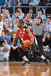 28 December 2006: Rutgers forward (4) Adrian Hill during a 87-48 Rutgers Scarlet Knights loss to the North Carolina Tarheels, in the Dean Smith Center in Chapel Hill, NC.<br />
