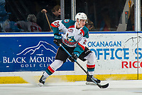 KELOWNA, CANADA - FEBRUARY 23:  Nolan Foote #29 of the Kelowna Rockets skates with the puck against the Kamloops Blazers on February 23, 2019 at Prospera Place in Kelowna, British Columbia, Canada.  (Photo by Marissa Baecker/Shoot the Breeze)