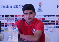 October 7, 2017 - Kolkata, West Bengal, India - Player Antonio Diaz during a press conference at Salt Lake stadium in Kolkata. Chile football team coach Hernan Caputto and player Antonio Diaz during a press conference ahead of FIFA U 17 World Cup on October 7, 2017 in Kolkata. (Credit Image: © Saikat Paul/Pacific Press via ZUMA Wire)