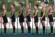 Black Sticks Women during National Anthem. Black Sticks Women v Japan, North Harbour Hockey Stadium, Auckland, New Zealand. Wednesday 16th March 2011. Photo: Anthony Au-Yeung / photosport.co.nz
