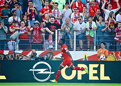 MAINZ, GERMANY - Sunday, August 7, 2016: FSV Mainz 05's Jhon Córdoba celebrates scoring the second goal against Liverpool during a pre-season friendly match at the Opel Arena. (Pic by David Rawcliffe/Propaganda)