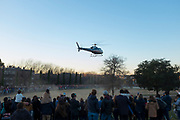 Waiting for the arrival of the Kings, the three wise men, by helicopter on 6th January, Sant Cugat del Valles, Barcelona, Catalonia, Spain.