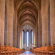 Copenhagen, Denmark - January 03, 2017: Interior photography of Grundtvigs Church