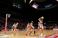 SYDNEY, AUSTRALIA - AUGUST 24: Jamie-Lee Price of the Giants looks to pass the ball during the round 14 Super Netball match between the Giants and the West Coast Fever at Qudos Bank Arena on August 24, 2019 in Sydney, Australia.(Photo by Speed Media/Icon Sportswire)