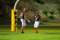 KELOWNA, BC - AUGUST 3:  Kyle Zakala #85 and Kian Ishani #8 of Okanagan Sun high five a 5 yard line catch against the Kamloops Broncos  at the Apple Bowl on August 3, 2019 in Kelowna, Canada. (Photo by Marissa Baecker/Shoot the Breeze)