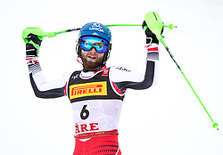 17.02.2019, Aare, SWE, FIS Weltmeisterschaften Ski Alpin, Slalom, Herren, 2. Lauf, im Bild Bronzemedaillengewinner Marco Schwarz (AUT) // Bronze medalist Marco Schwarz of Austria reacts after his 2nd run of men's Slalom of FIS Ski World Championships 2019. Aare, Sweden on 2019/02/17. EXPA Pictures © 2019, PhotoCredit: EXPA/ Johann Groder