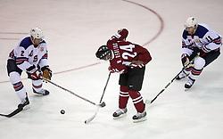 Keith Ballard (2), Mikelis Redlihs (24) and  Jeff Halpern (11) at ice-hockey match USA vs Latvia at IIHF WC 2008 in Halifax,  on May 02, 2008 in Metro Center, Halifax, Canada.  (Photo by Vid Ponikvar / Sportal Images)