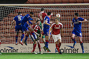 Sam Winnall (Barnsley) heads home in first half injury time to give Barnsley the lead, 1-0 to the home side during the Sky Bet League 1 match between Barnsley and Oldham Athletic at Oakwell, Barnsley, England on 12 April 2016. Photo by Mark P Doherty.