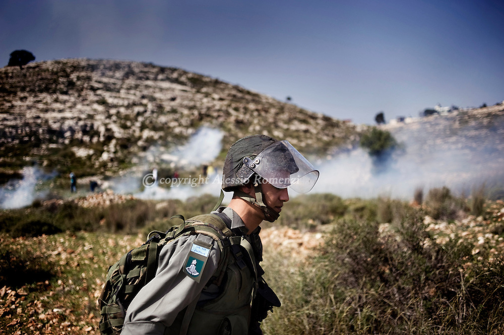 February 5, 2010 after a weekly protest against Israeli settlement expansion, in the West Bank village of Nabi Saleh, near the Jewish settlement of Halamish.© ALESSIO ROMENZI