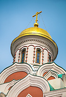 Detail of the dome of the Kazan Cathedral located in the Red Square in Moscow, Russia.