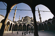 The courtyard of the Blue Mosque, Istanbul, Turkey.
