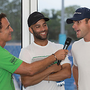 August 21, 2014, New Haven, CT:<br /> James Blake and Andy Roddick are interviewed by host Andrew Krasny at the Legends Party during the Men's Legends Event on day seven of the 2014 Connecticut Open at the Yale University Tennis Center in New Haven, Connecticut Thursday, August 21, 2014.<br /> (Photo by Billie Weiss/Connecticut Open)