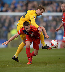 Chris Lines of Bristol Rovers Battles for the ball with James Berrett of York City - Mandatory by-line: Alex James/JMP - 30/04/2016 - FOOTBALL - Bootham Crescent - York, England - York City v Bristol Rovers - Sky Bet League Two