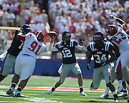 Ole Miss quarterback Nathan Stanley (12) passes at Vaught-Hemingway Stadium in Oxford, Miss. on Saturday, September 4, 2010.