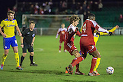Whitehawk's David Ijaha on the ball during the Sussex Senior Cup Quarter Final match between Whitehawk and Crawley Town at the Enclosed Ground, Brighton & Hove, United Kingdom on 13 January 2015. Photo by Phil Duncan.