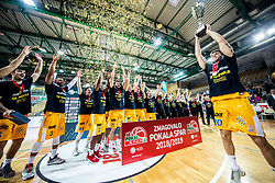 Alen Hodzic of Sixt Primorska with a trophy in his hands and other players of Sixt Primorska celebrate after winning during basketball match between KK Sixt Primorska and KK Hopsi Polzela in final of Spar Cup 2018/19, on February 17, 2019 in Arena Bonifika, Koper / Capodistria, Slovenia. KK Sixt Primorska became Slovenian Cup Champion 2019. Photo by Vid Ponikvar / Sportida