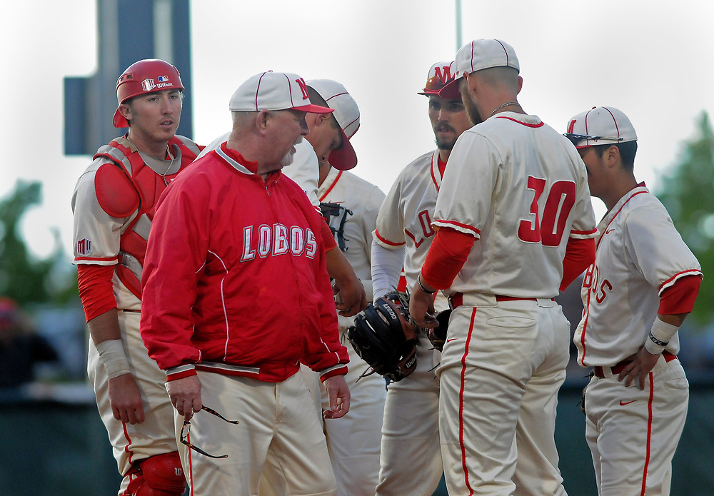 jt051817f/ sports/jim thompson/  UNM's head coach Ray Birmingham has a few words for his players int he early inning of their game  against Nevada Thursday night. Thursday May. 18, 2017. (Jim Thompson/Albuquerque Journal)