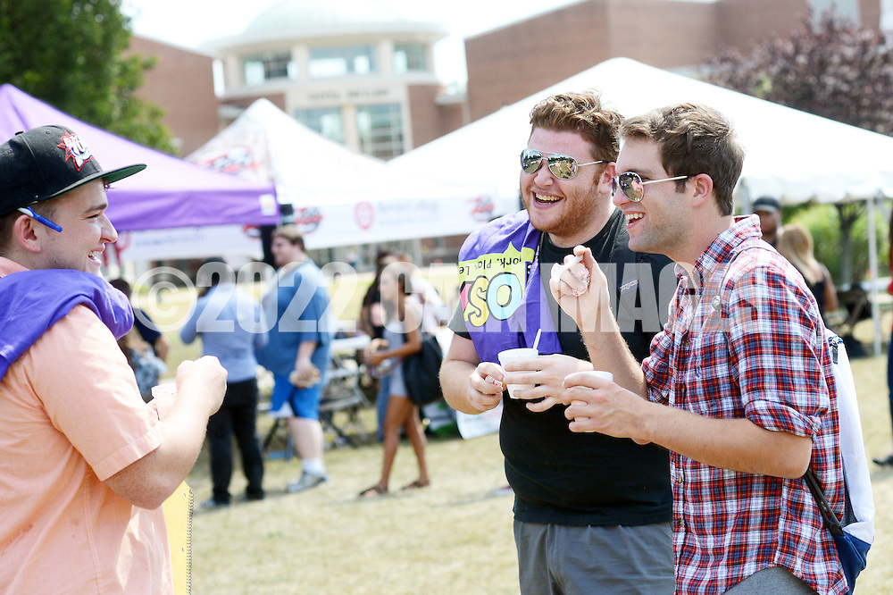 From left, Brian Shephard, 21, Ronnie Fante, 21, and Ryan McDevitt, 22 and all from Marlton, New Jersey share a laugh during lunch at Rowan College of Burlington County Wednesday August 31, 2016 in Mount Laurel, New Jersey.  (Photo by William Thomas Cain)