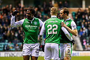 Florian Kamberi (#22) of Hibernian celebrates Hibernian's first goal (1-1) with Steven Whittaker (#3) of Hibernian and Efe Ambrose (#25) of Hibernian during the Ladbrokes Scottish Premiership match between Hibernian and Hamilton Academical FC at Easter Road, Edinburgh, Scotland on 3 April 2018. Picture by Craig Doyle.