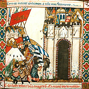 SPAIN, MIDDLE AGES, EL ESCORIAL 13thC Cantigas illuminated poems created for Alfonso X of Castile shows Moors besieging a Christian city