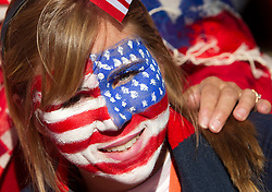 US fan enjoys the atmosphere ahead of the 2010 FIFA World Cup South Africa Group C match between Slovenia and USA at Ellis Park Stadium on June 18, 2010 in Johannesberg, South Africa. (Photo by Vid Ponikvar / Sportida)