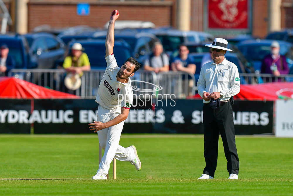 Lewis Gregory of Somerset bowling during the Specsavers County Champ Div 1 match between Somerset County Cricket Club and Worcestershire County Cricket Club at the Cooper Associates County Ground, Taunton, United Kingdom on 20 April 2018. Picture by Graham Hunt.