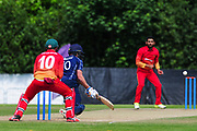 Reverse sweep shot from Callum Macleod during the One Day International match between Scotland and Zimbabwe at Grange Cricket Club, Edinburgh, Scotland on 17 June 2017. Photo by Kevin Murray.
